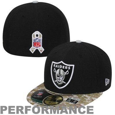 0e342df4010 New Era Oakland Raiders Salute To Service On-Field 59FIFTY Fitted  Performance Hat - Black Digital Camo  SalutetoService