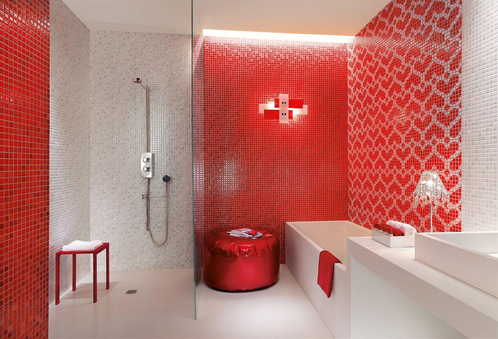 Rivestimento Bagno Con Maioliche bagno: rosso per piastrelle, sanitari, complementi (con