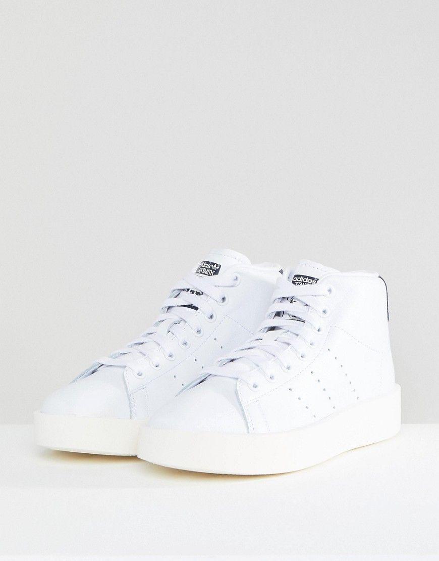 adidas Originals White Stan Smith Bold Mid Sneakers Multi
