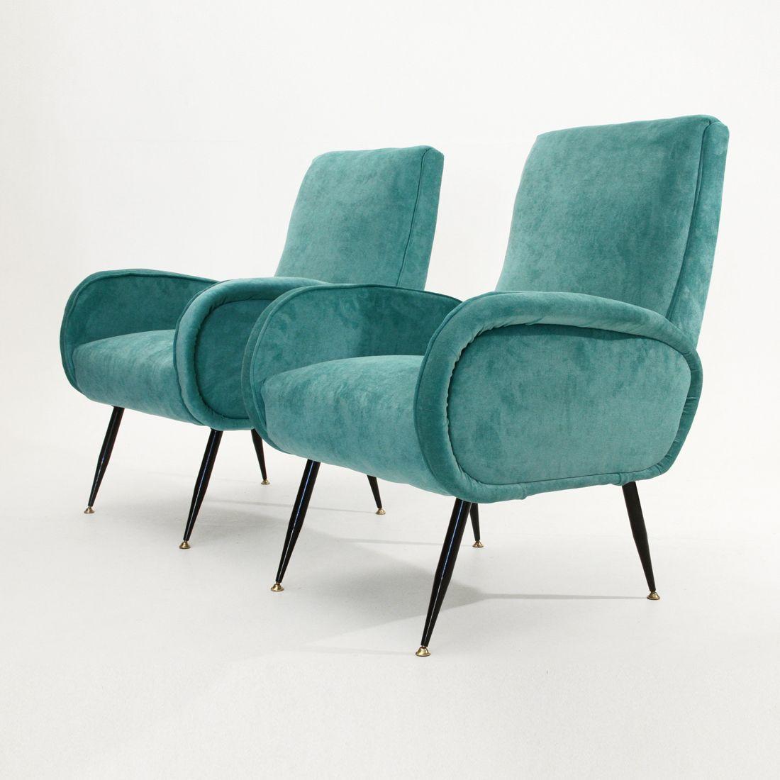 Italian Mid Century Blue Velvet Armchairs 1950s Set Of 2 Arredamento D Interni Arredamento Interni