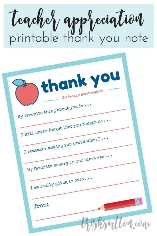 Teacher Appreciation Week Printable Thank You Note  Teacher Note