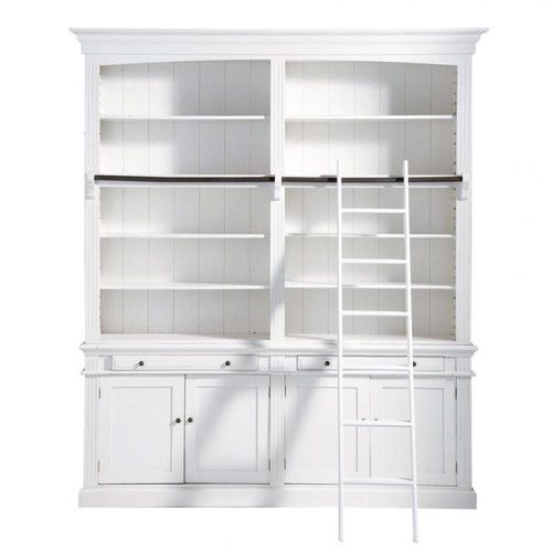 Biblioteca con escalera de madera blanca an 200 cm for Escalera libreria