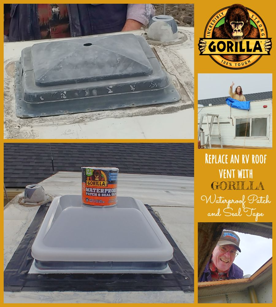 How To Replace An Rv Roof Vent With Gorilla Glue Waterproof Patch And Seal And A Giveaway Camper Trailer Remodel Vintage Camper Remodel Roof Vents