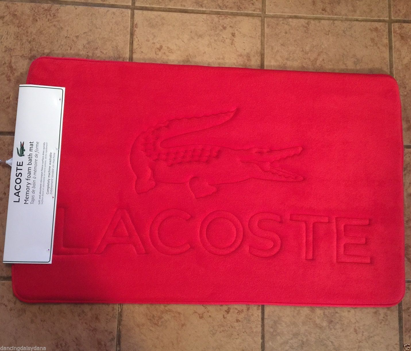 Red Lacoste Alligator Memory Foam Bath Mat Rug 21 X34 Formula 1 New Free Sh View More On The Link Htt Memory Foam Bath Mats Bath Mat Rug Foam Bath Mats