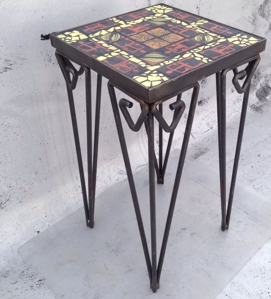 Beau Art Styles · California Tile Top Wrought Iron Side Table ...