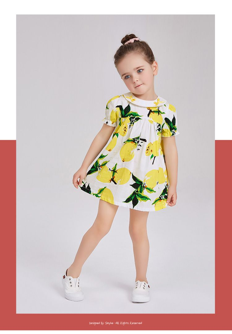 3216e6ddf47 Girls short sleeve dress kids girl cotton summer dress 2017new lemon  pattern baby girls clothing children s