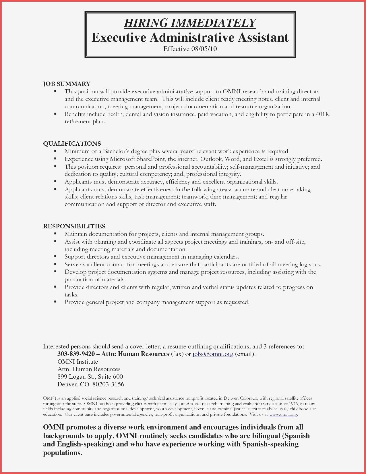 Best Of Cover Letter For Executive Assistant Job Administrative