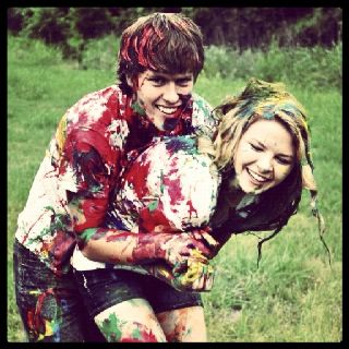 Paint war with my best friend and childhood sweetheart. <3 Happiness.