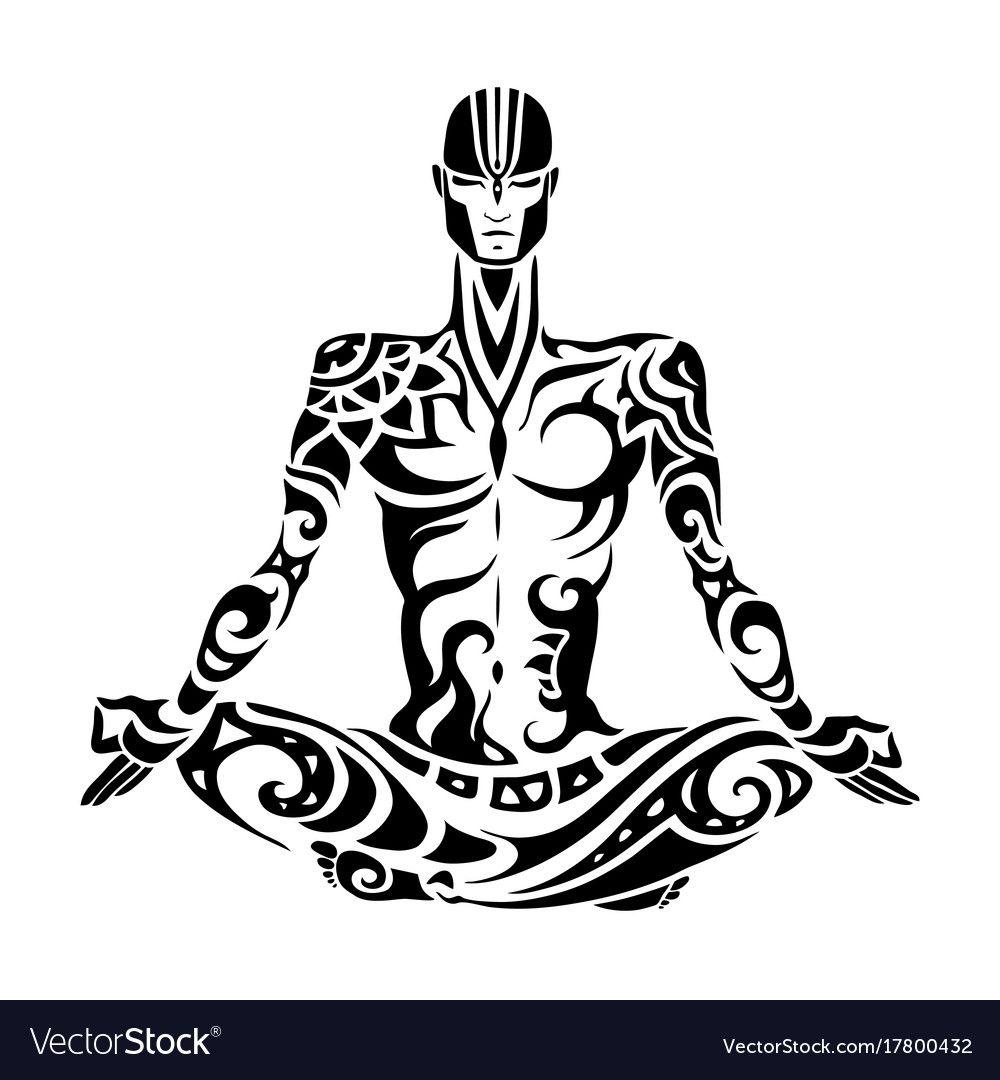 Meditation Yoga Man Silhouette Royalty Free Vector Image Sponsored Man Silhouette Meditation Silhouette Vector Silhouette Tattoos Heart Hands Drawing