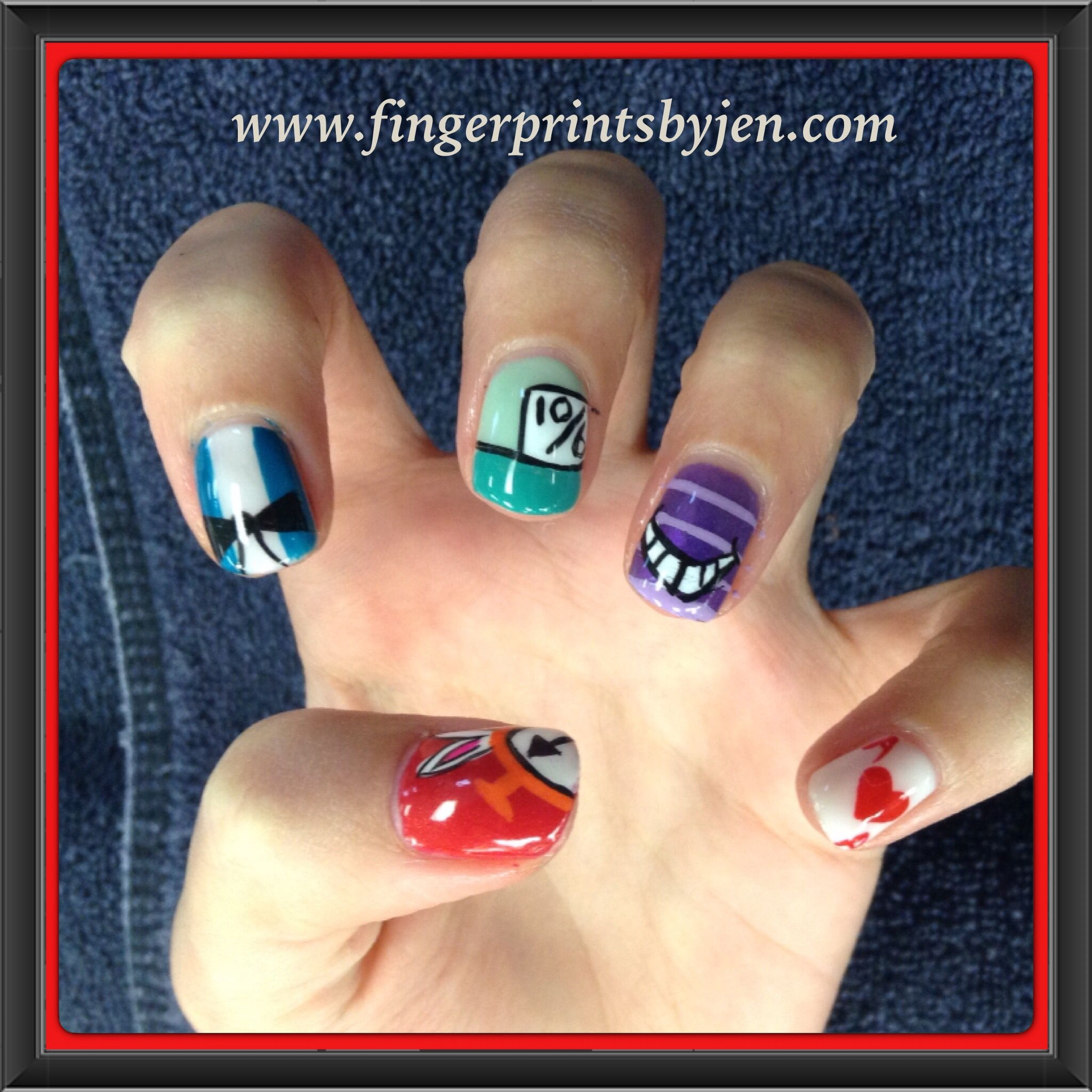 Abstract Alice in Wonderland inspired no chip manicure | Manicure ...