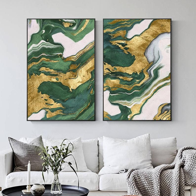 Gold Art 2 Pieces Wall Art Framed Painting Emerald Green Set Etsy Painting Frames Wall Art Gold Leaf Abstract Art Painting