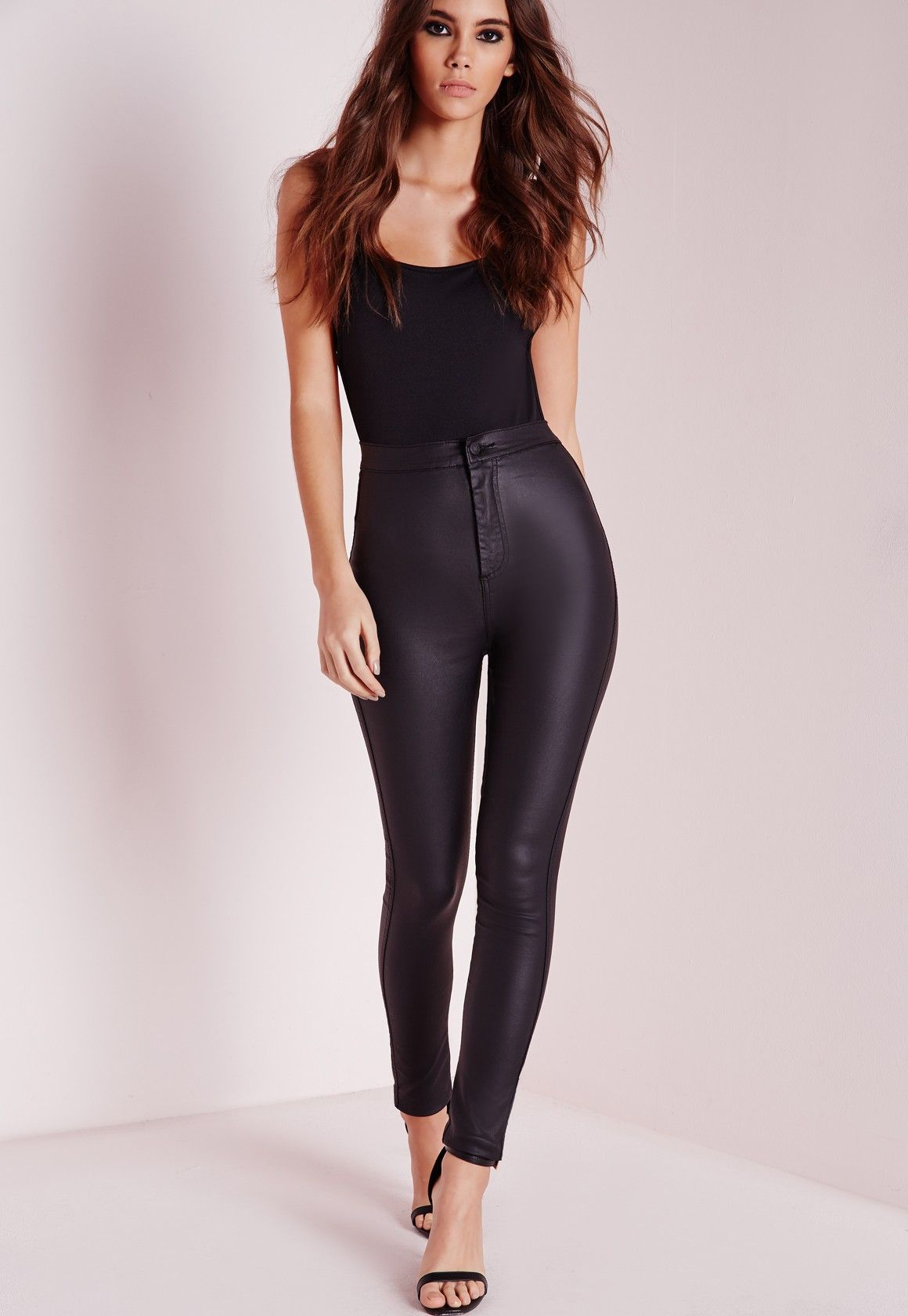 7afedf985b02 Missguided - Vice Super Stretch Wet Look High Waisted Coated Skinny Jeans  Black