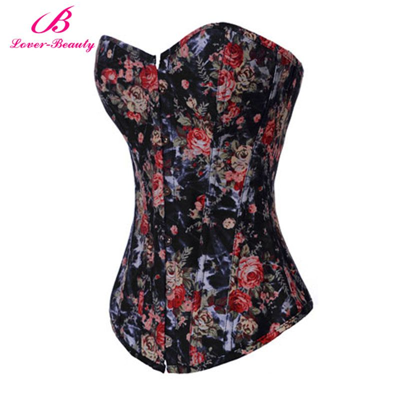 Lover Beauty New Boned Lace up Back Corset Hot Sale Sexy Lingerie Top  Floral Bustier With G-string Women Waist Cincher Corsets b7bb63868cf9