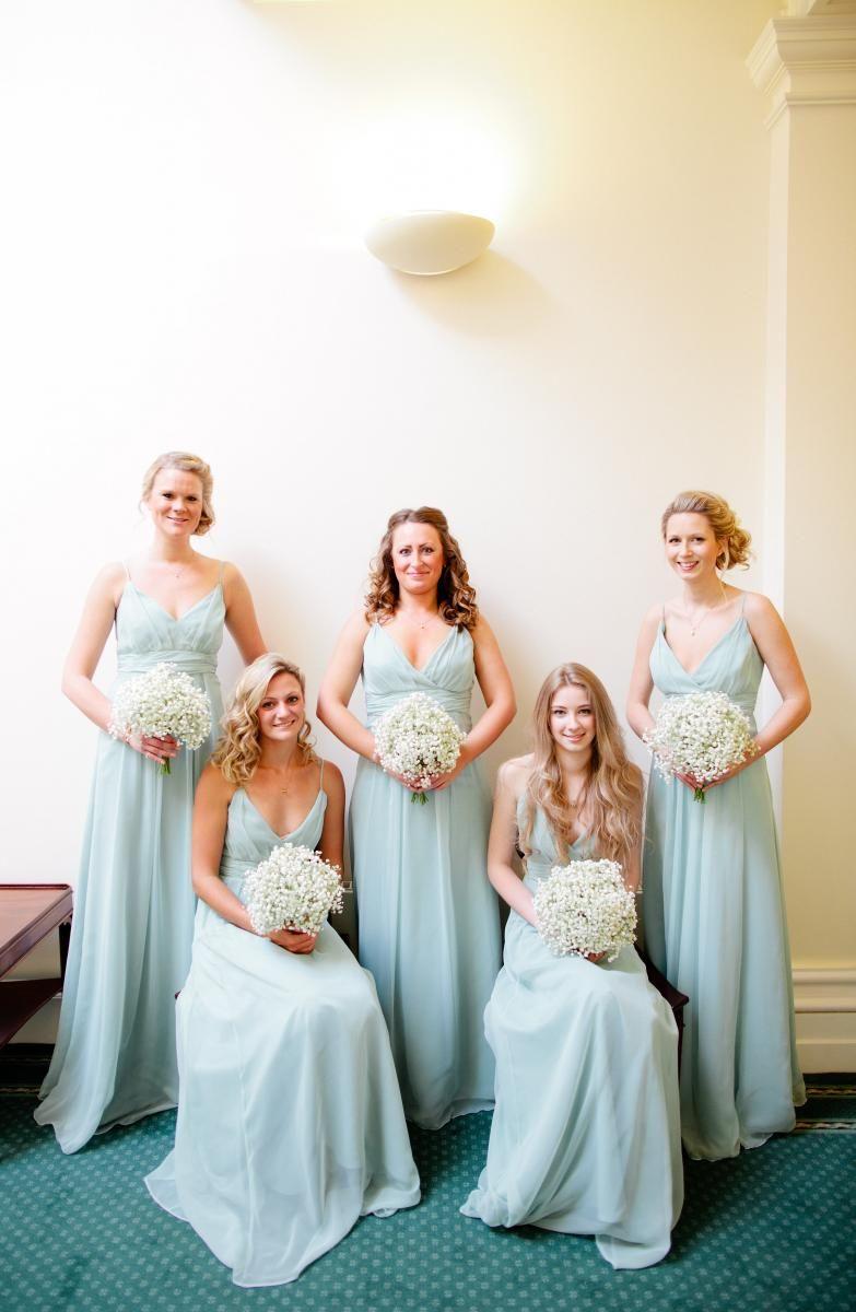The bridesmaids wearing mint coloured gowns bijourealwedding