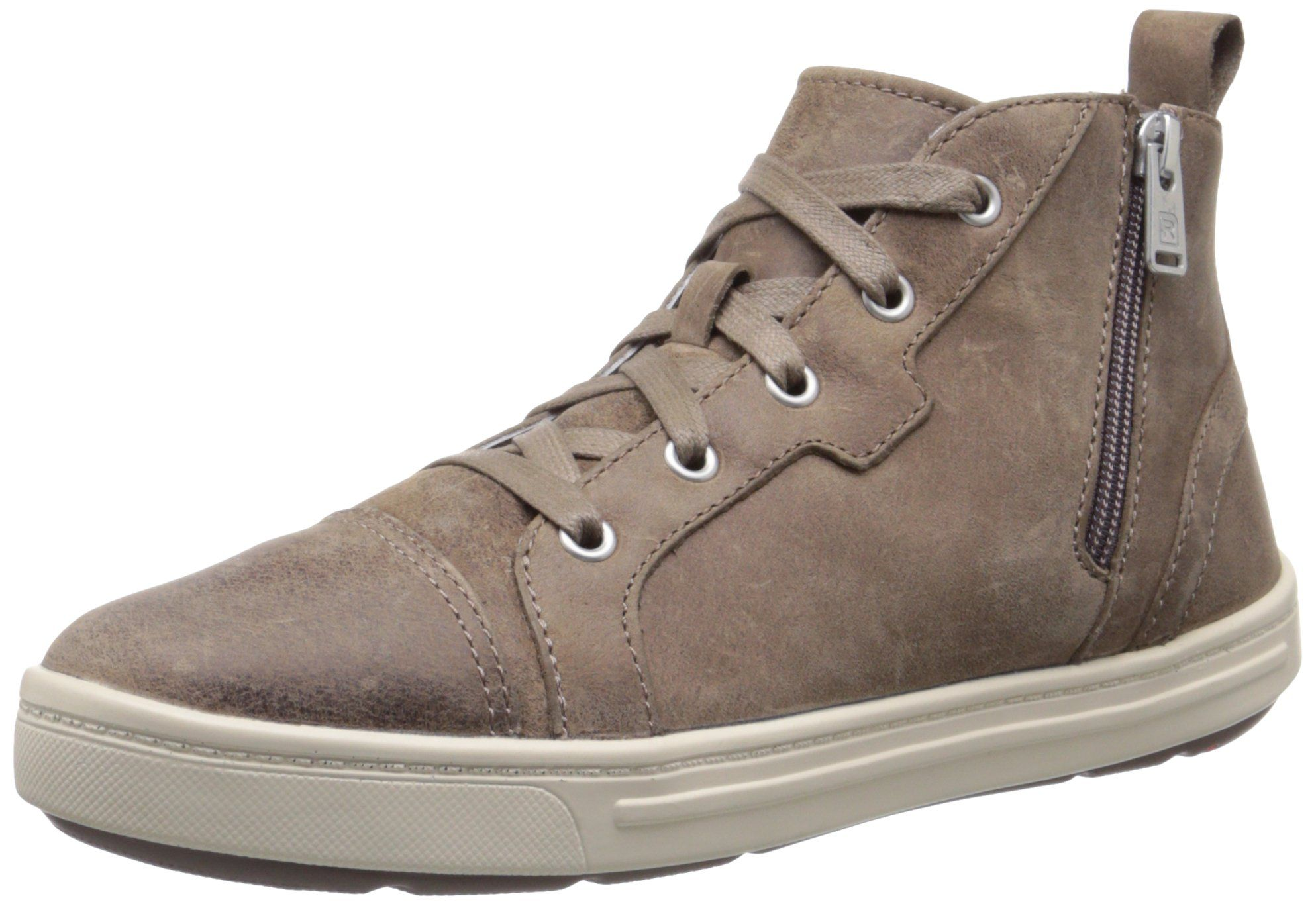 Rockport Women's Truwalkzero Cupsole Hi Top M Grey Dist Leather 7 M (B). High-top sneaker with lace-up front, cap toe, and side instep zipper. Rear pull loop.