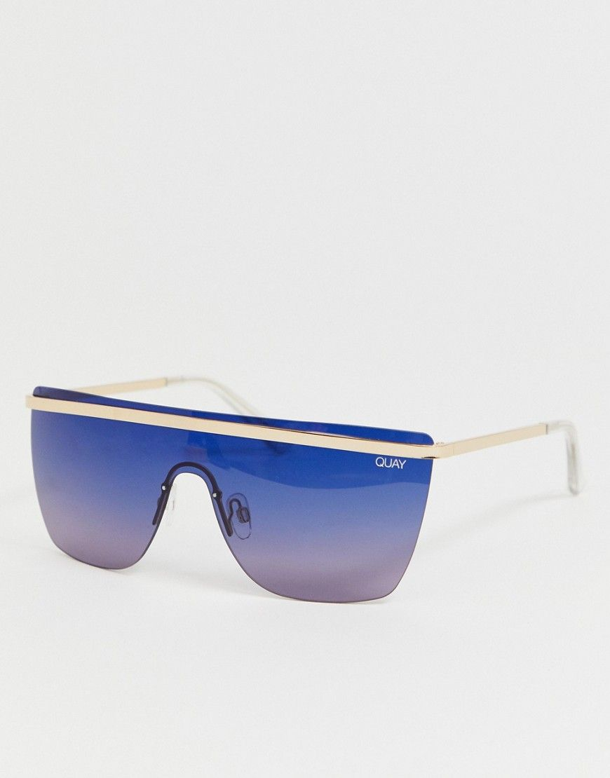 a99c4dca13e2b QUAY X J LO GET IT RIGHT FLATBROW SUNGLASSES IN BLUE - BLUE.  quay ...