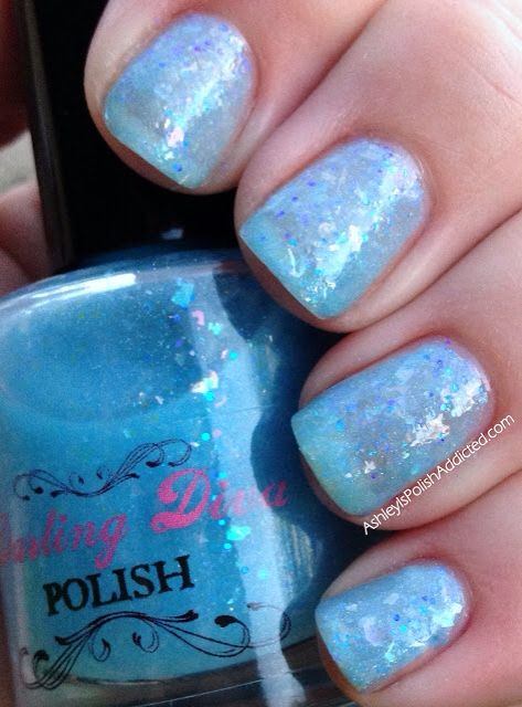 Blue Opal - a perfect icy blue  I am showing 3 coats of this