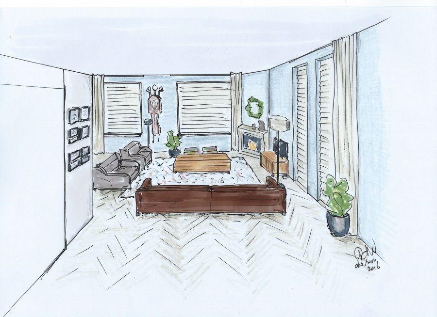 Perspectief tekening voor ontwerp en stylingplan van een woonkamer ...