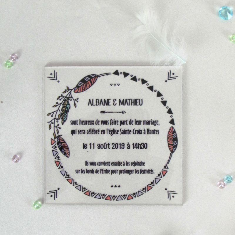 Faire part mariage plexiglas boheme, Decoration boho chic
