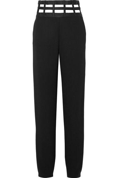 e0a966f097d Giorgio Armani - Cutout Satin-trimmed Silk-crepe Straight-leg Pants - Black