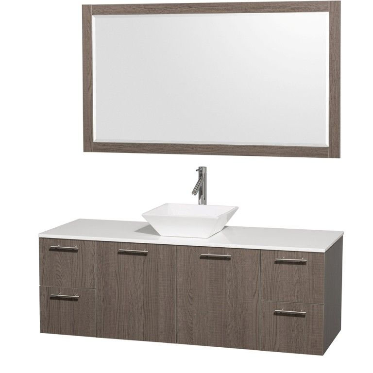 WYNDHAM COLLECTION Amare 60-Wall-Mounted Bathroom Single Vanity Set With Vessel Sink - Gray Oak