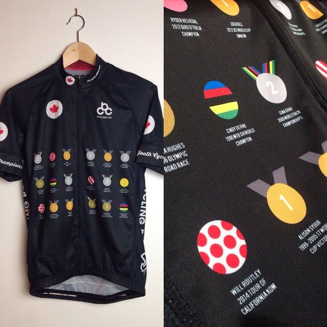 The 'Palmares' jersey, highlighting some of Canada's greatest cycling achievements. Design: Jonathan Wood
