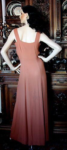 Vintage Art Deco Ravishing 2pc Brown Crepe Elegant Beaded Dress Gown Jacket | eBay
