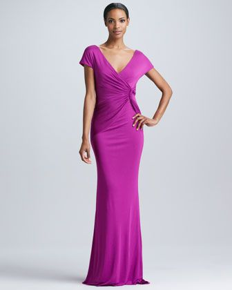 Knot-Front Fitted Gown by Badgley Mischka at Neiman Marcus ...