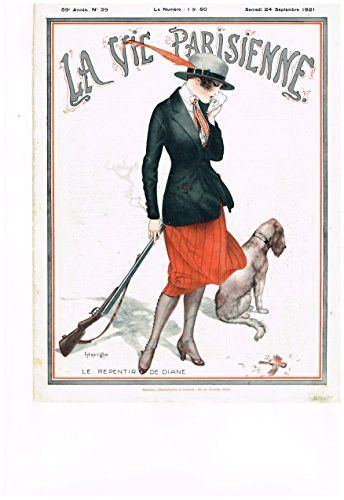 """La Vie Parisienne Page - """"LE REPENTIR DE DIANE"""" - Lithograph - 1921"""