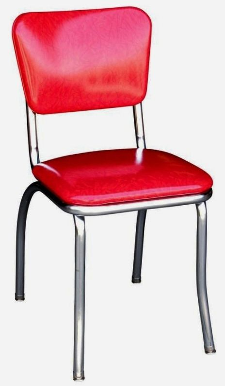 Metal Frame Cracked Ice Red Diner Chair , 1\