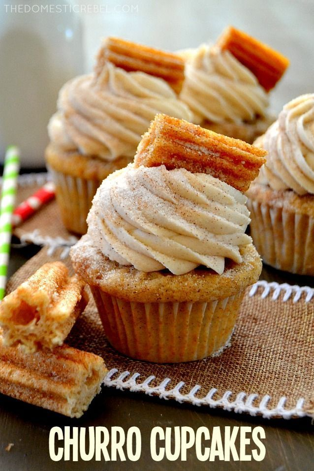 Cupcakes These Churro Cupcakes are bursting with cinnamon sugary goodness in every bite! Perfect for Cinco de Mayo or any occasion that calls for a moist, sweet and fluffy cinnamon-spiced cupcake topped with a crispy churro!These Churro Cupcakes are bursting with cinnamon sugary goodness in every bite! Perfect for Cinco de Mayo or any occasion tha...