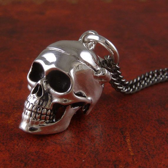 Skull Locket in Antique Silver - Human Skull Locket by Lost Apostle, $55.00