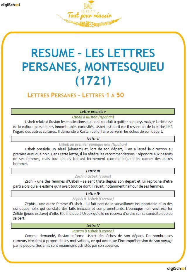 Résumé Les Lettres Persanes par lettre, Montesquieu Montesquieu - ses resume