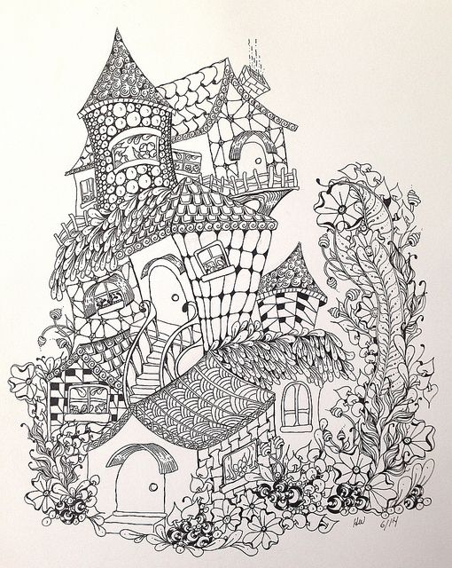 zentangleinspired fairy houses  coloring pages coloring