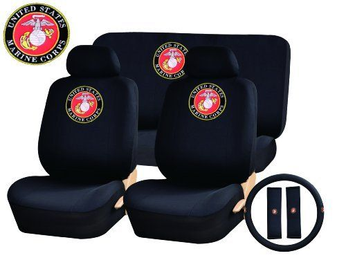 11 Piece Auto Interior Gift Set Marines Usmc A Set Of 2 Seat Covers 1 Rear Bench Cover 1 Steering Wheel An Seat Belt Pads Bench Covers Black Seat Covers