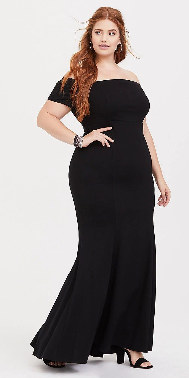 Special occasion black ponte off shoulder gown plus size fashion