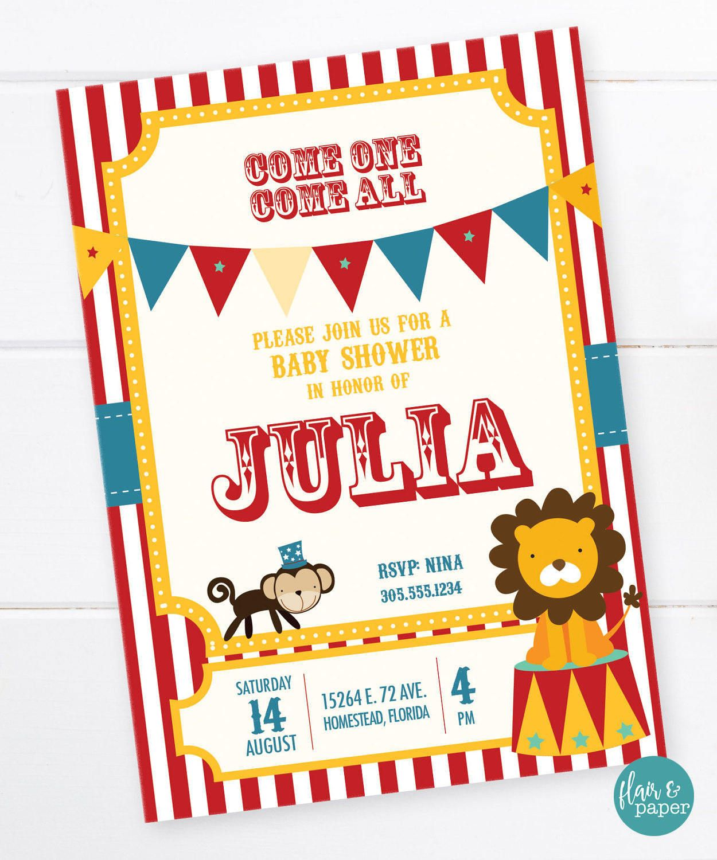 Circus Baby Shower Invitation, Ringmaster, Carnival Party, Circus ...
