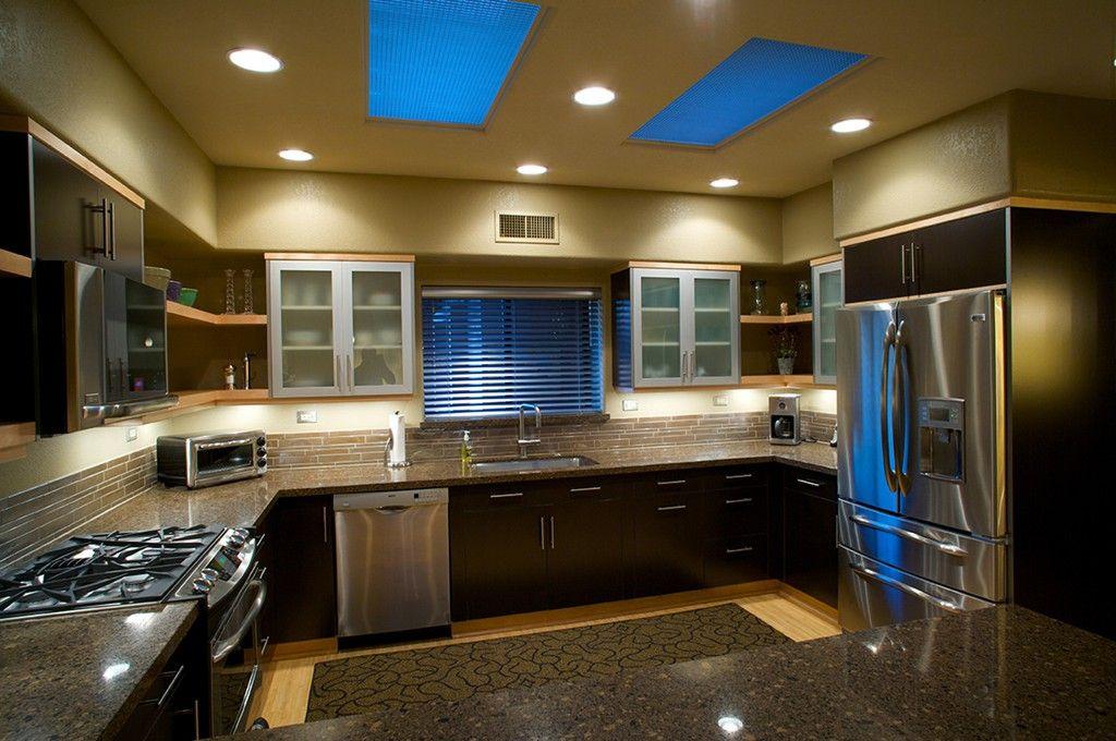 Modern Kitchen Remodel With Mocha Laminate Kitchen Cabinets U0026 Contrastingu2026  | Kitchens | Pinterest | Corner Shelves Kitchen, Corner Shelf And Kitchens