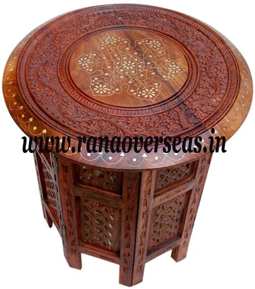 Merveilleux Sheesham Wood Hand Carved Brass Inlay Octagnol Side Table We Have Designer  Wooden Side Table,