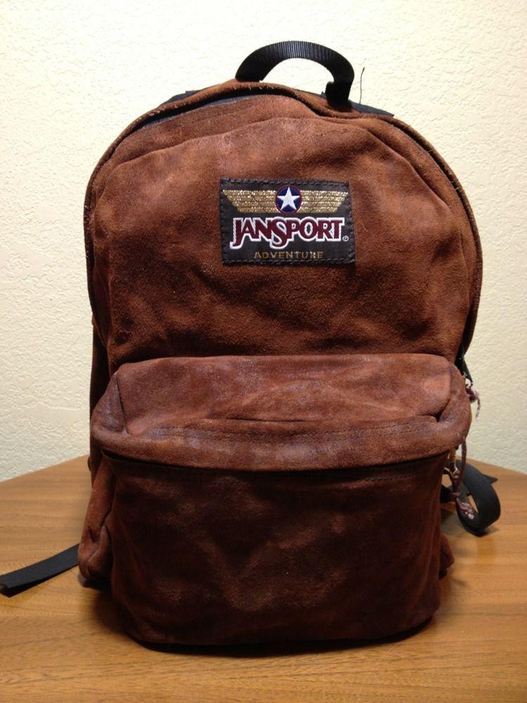 db0449108 JANSPORT ADVENTURE Vtg Brown Leather Aviation Backpack Daypack Bookbag # JanSport #Backpack
