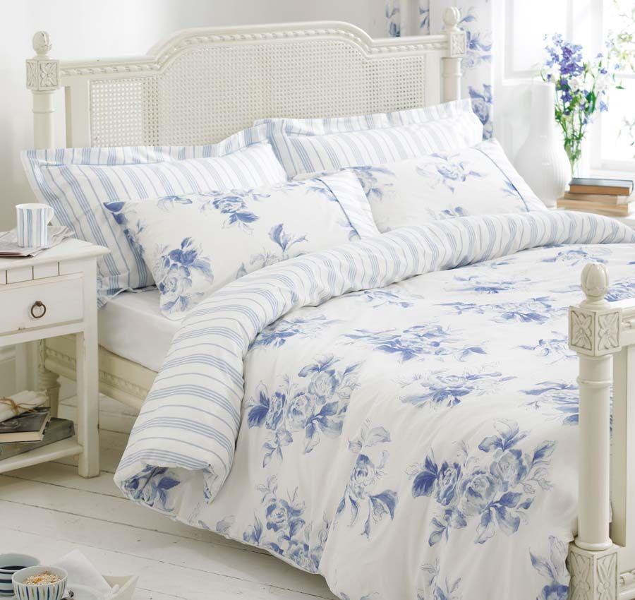 Blue White Bedding Bed Linen Floral Stripe Reversible Duvet