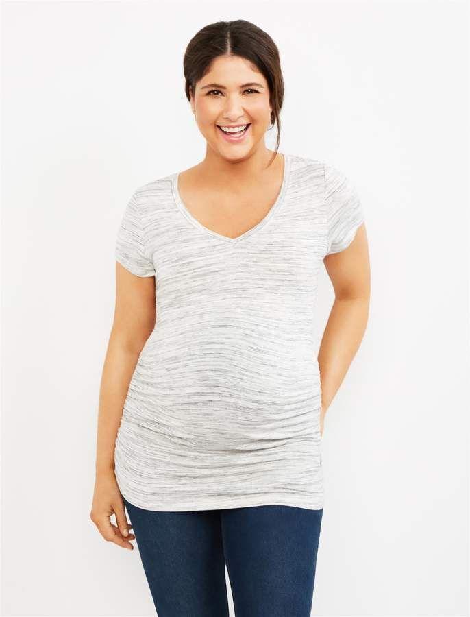 b7ecf86546b0e8 Motherhood Maternity Spacedye Side Ruched Maternity Tee- Grey in ...