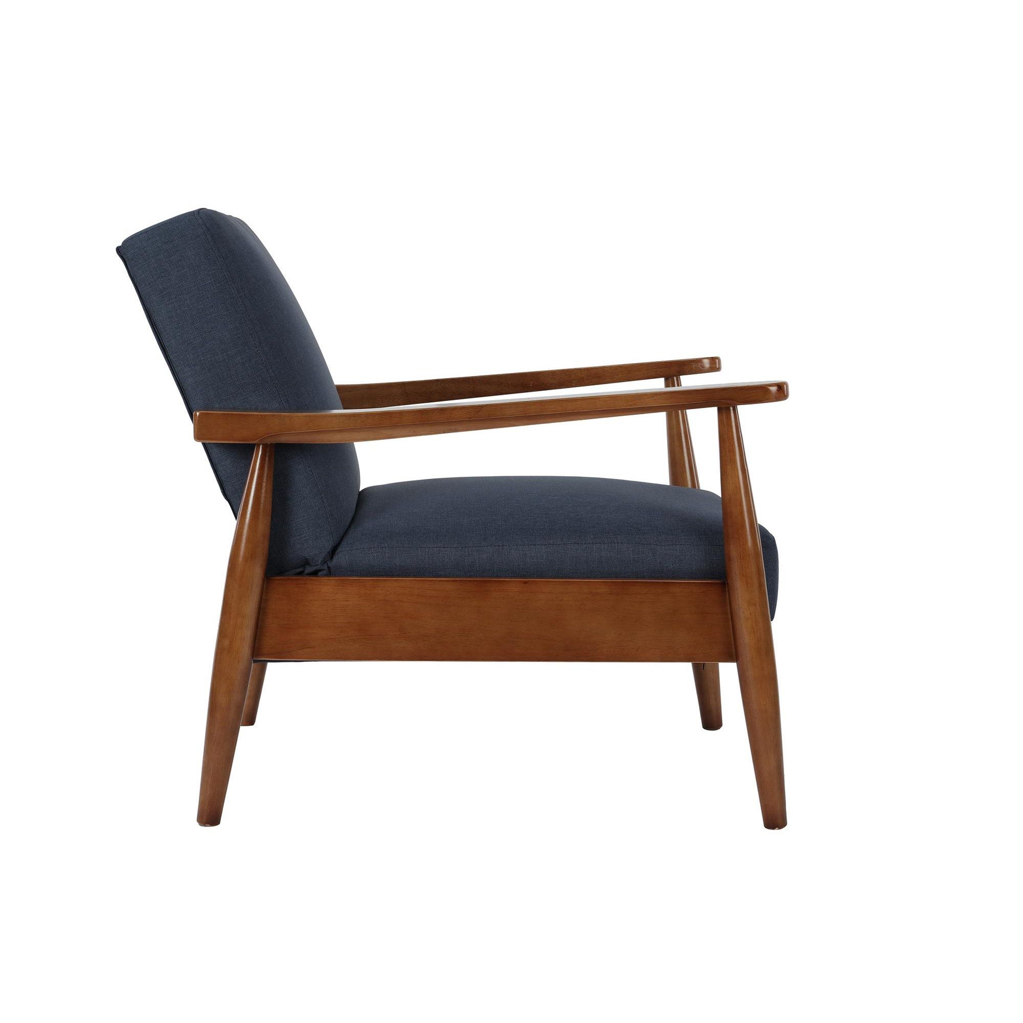 Better Homes Gardens Mid Century Chair Adjustable Position Wood With Linen Upholstery Blue Walmart Com Mid Century Modern Accent Chairs Blue Accent Chairs Mid Century Modern Lounge Chairs