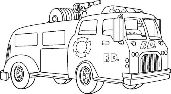 Fire Truck with Super Water Canon Coloring Page coloring page