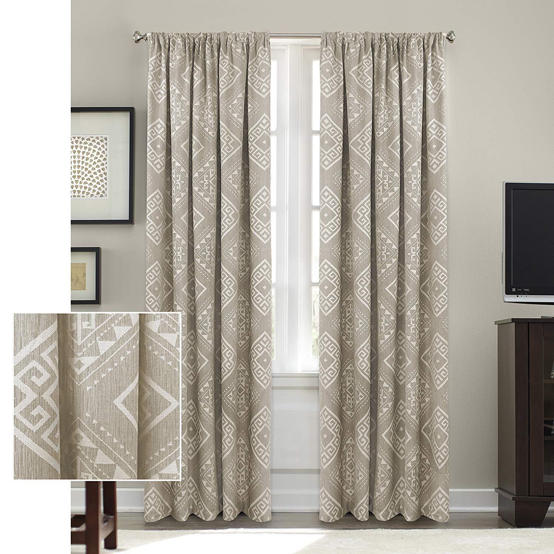 Ln 1 Piece Natural Diamond Window Curtain 95 Inch Light Brown