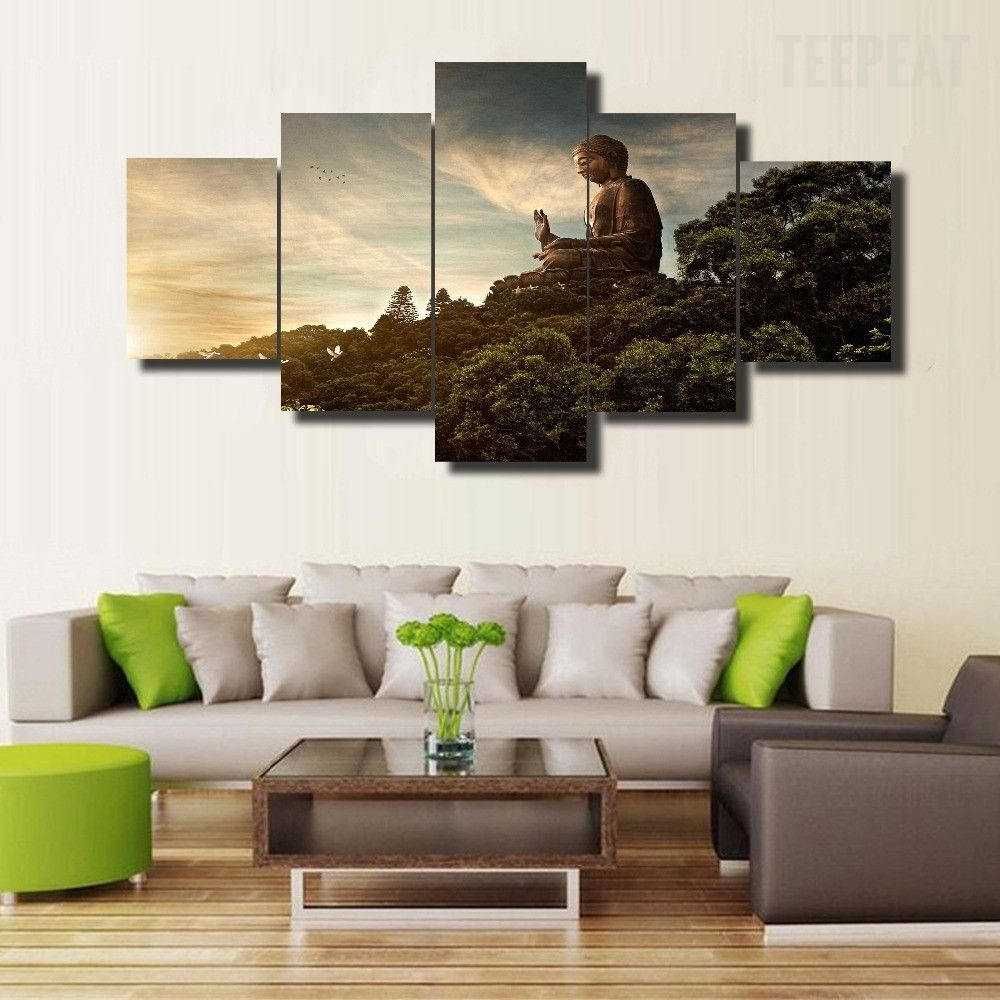 Buddha In Nature 5 Piece Canvas Painting Buddha Home Decor Living Room Canvas Painting Customized Canvas Art