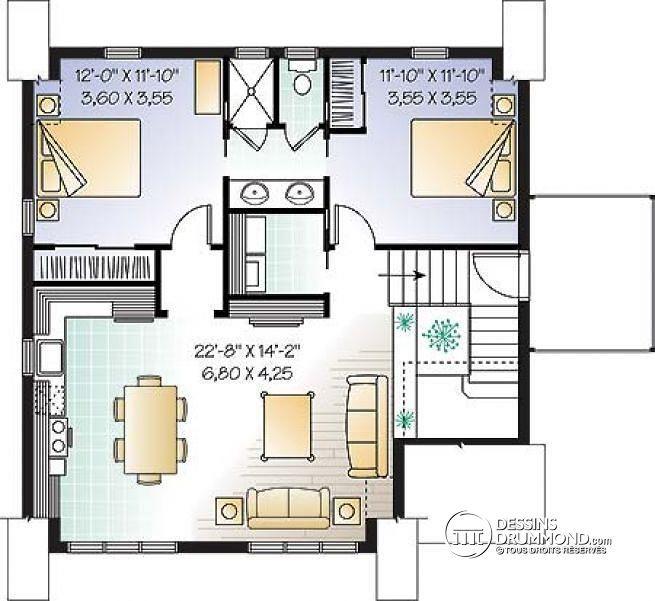 W3933 - Garage avec logement 2 chambres, balcon et espace ouvert - plan maison etage m