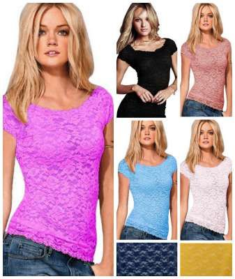 these lace stretch tops are so cute! So many different ways to wear them!