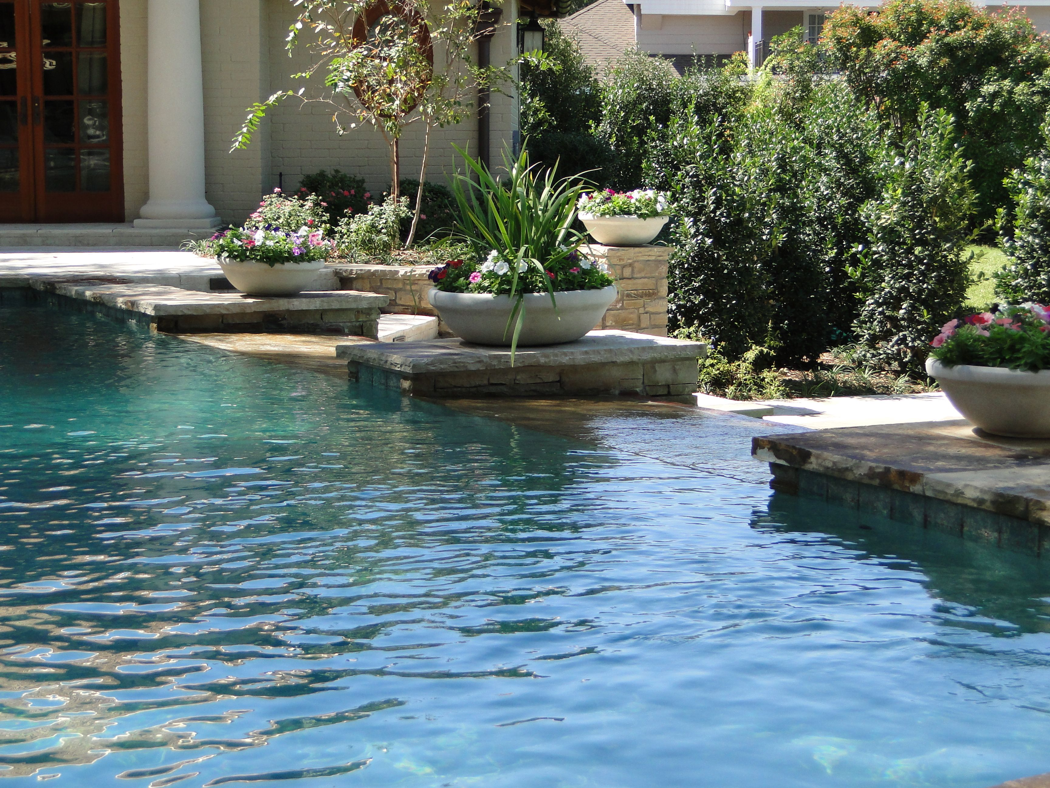 Pedestal Planters Along Infinity Pool Poolside Pinterest