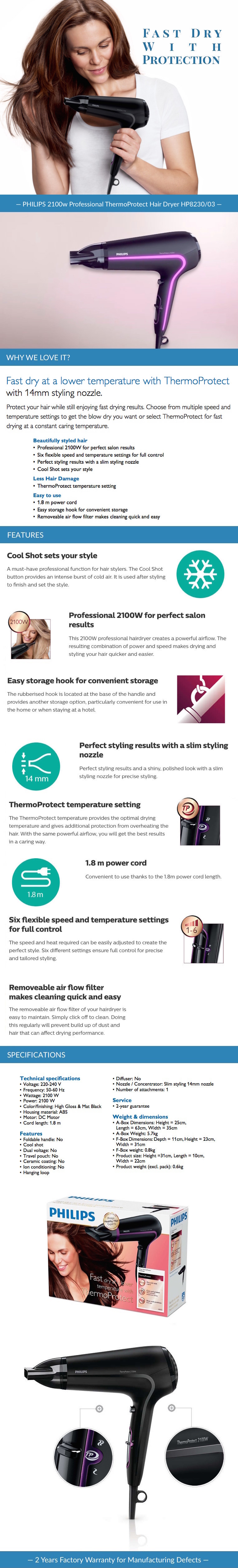PHILIPS 2100w Professional ThermoProtect Hair Dryer HP8230/03